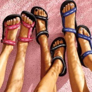 PINK VICTORIA'S SECRET Black Strappy Sandals Sz L